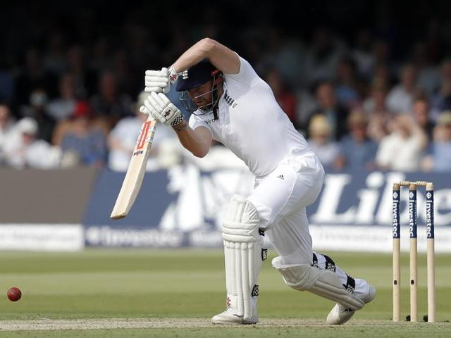 England batsman Jonny Bairstow plays a shot during play on the first day of the third Test match.