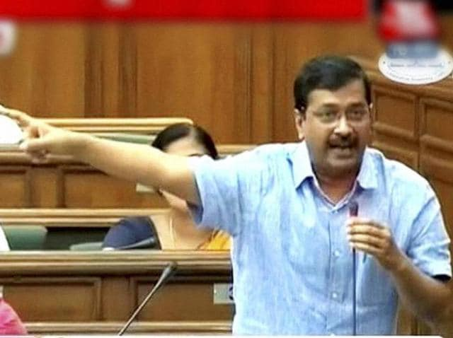 Delhi CM Arvind Kejriwal speaks in the Assembly in New Delhi on Friday.