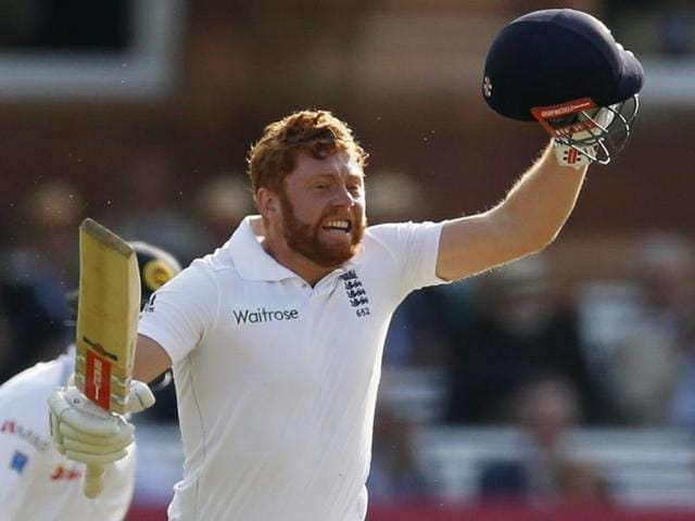 Jonny Bairstow (R) celebrates his maiden Test century at Lord's.