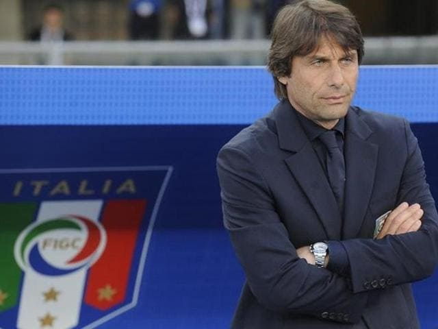 Italy's coach Antonio Conte looks on during a match against Finland.