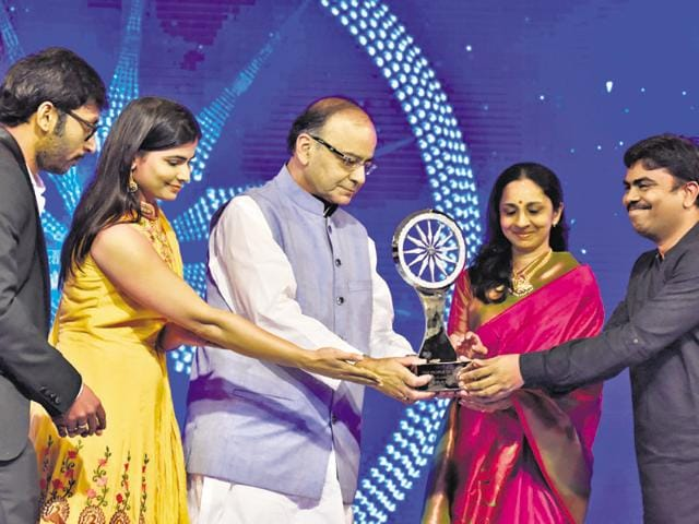 Finance minister Arun Jaitley with the winners of