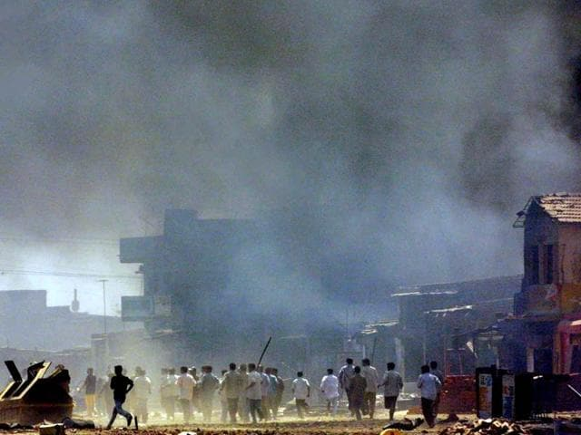 Rioting in Ahmedabad on February 28, 2002.