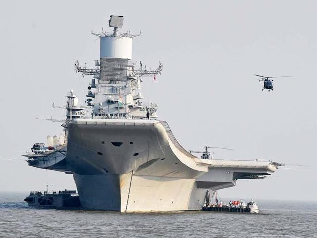 The INS Vikramaditya ship was moored for refit at the Karwar naval base in Karnataka since June 1.(PTI file photo)