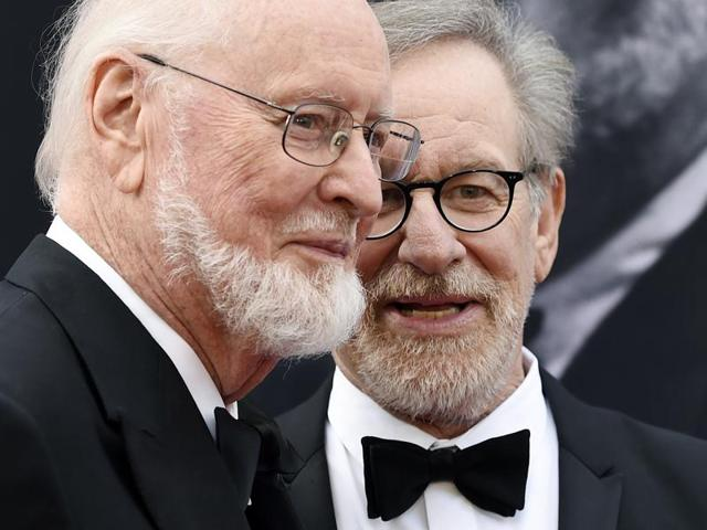 Composer John Williams with filmmaker Steven Spielberg on the red carpet at the 2016 AFI Life Achievement Award Gala Tribute to Williams.