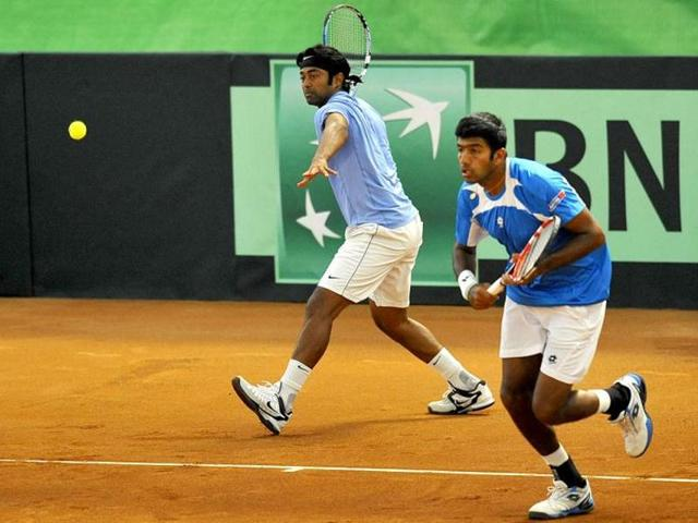 Leander Paes (left) and Rohan Bopanna during a Davis Cup match between Uzbekistan and India in Namangan.