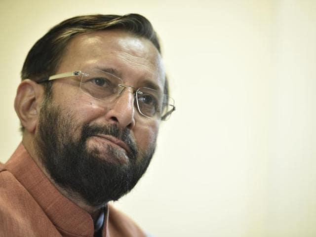 "Maneka Gandhi accused environment minister Prakash Javadekar (in picture) of having ""lust to kill animals""."