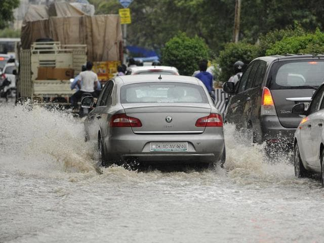 Submerged roads and jams affected commuters in on Sector 18 road and in C-block of Sector 63 and A- block of Sector 21.