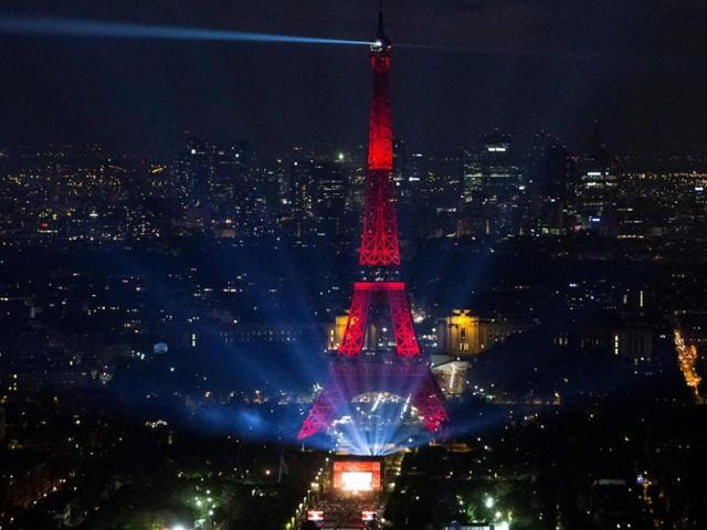 The opening concert of the Paris fan zone on the Champs de Mars by the Eiffel Tower, in Paris, one day before the start of the Euro 2016 football championship.