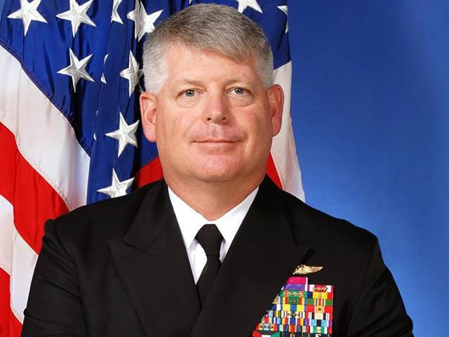 US Navy rear admiral Robert Gilbeau is seen in an undated official picture.