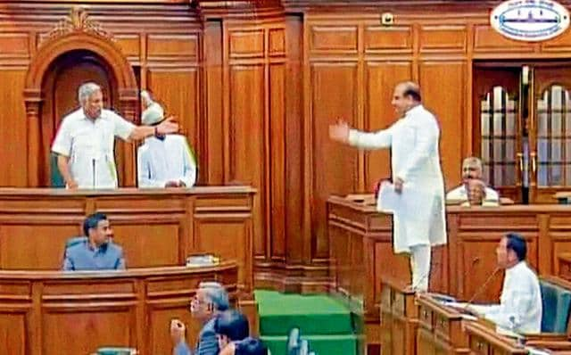 Leader of Opposition Vijender Gupta in the Assembly in New Delhi on Friday.
