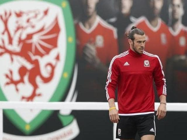 Gareth Bale during a Wales training session in Cosec stadium, Dinard.