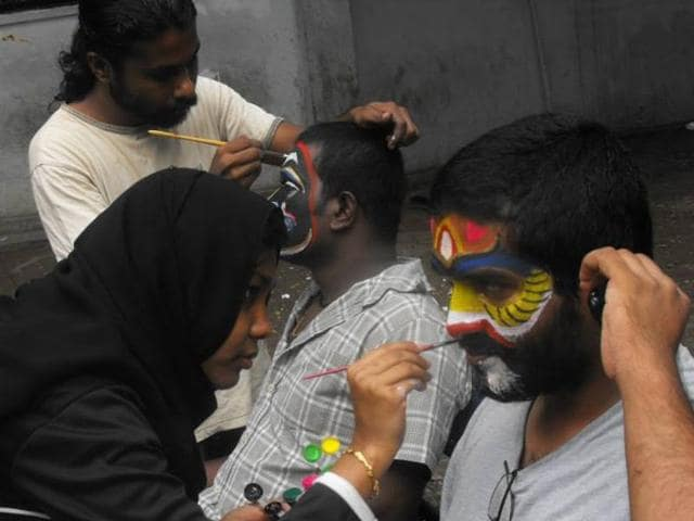Students paint their faces and shout slogans glorifying figures such as Ravana and Shoorpanakha as part of an Asura festival at the English and Foreign Languages University, Hyderabad.