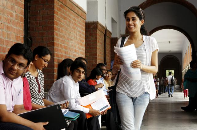 Students during admissions at St Stephen's College In New Delhi.