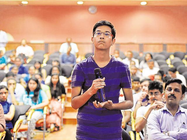 A student at a counselling session for college admissions held at YWCA in New Delhi on Saturday.