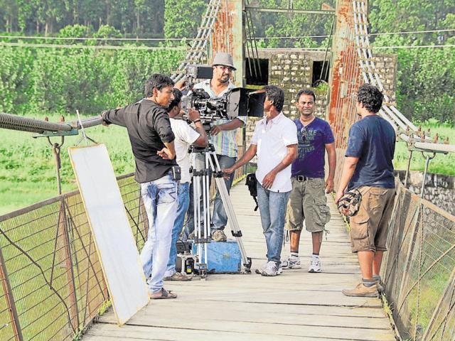 Shooting of a film underway in Dehradun.