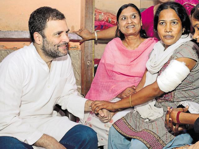 Gandhi visited injured party worker Meena Verma.