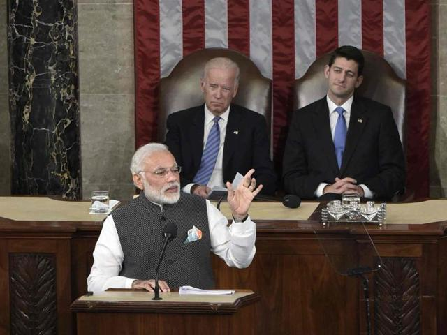 Prime Minister Narendra Modi addresses a joint meeting of Congress at the US Capitol in Washington, DC June 8.