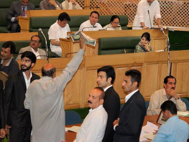 Jammu and Kashmir state assembly during the Budget session in Srinagar.