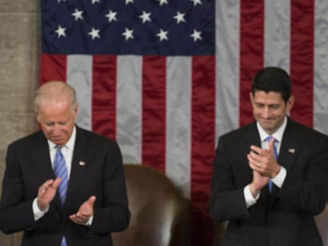 Vice President Joe Biden and House Speaker Paul Ryan, R-Wis. applaud Indian Prime Minister Narendra Modi during address ti a joint meeting of Congress on Capitol Hill in Washington on Wednesday.