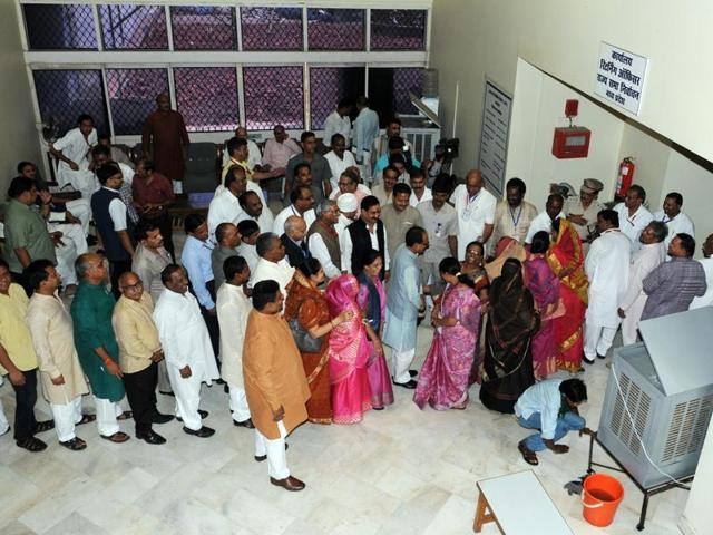 MLAs are in queue along with Chief minister Shivraj Singh Chouhan in state assembly premises for voting in Rajya Sabha election in Bhopal. Voting for Rajya Sabha seats across seven states took place on June 11, 2016.