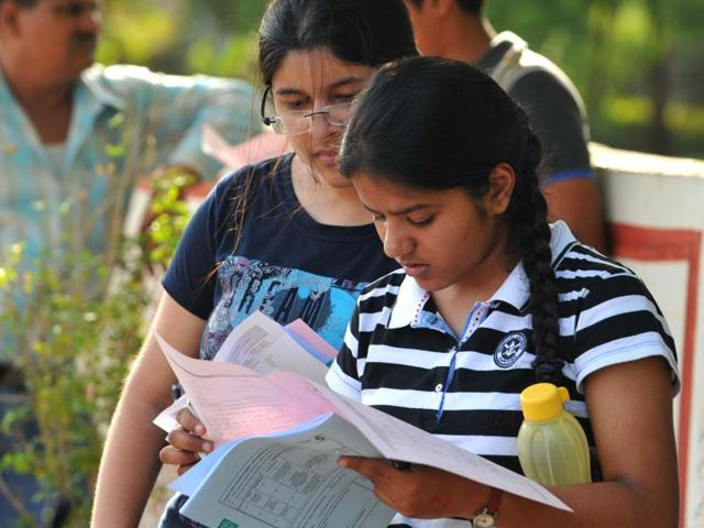 Students outside the examination centre after Joint Entrance Examination (JEE) in Indore on  May 22, 2016.