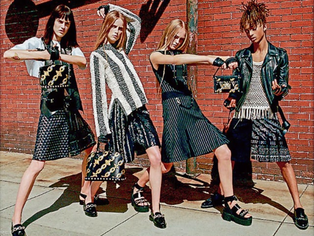 Hollywood actor Will Smith's son Jaden Smith (extreme right) poses in a skirt for a campaign. About 80 schools in the UKhave given the option for boys to wear skirts and girls to wear trousers, if they so prefer.
