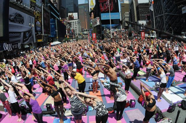 The Times Square community event will likely be the biggest Yoga Day celebration outside India. The day-long series of seven events that run from 7 am to 8.30 p.m. will stretch over several city blocks.