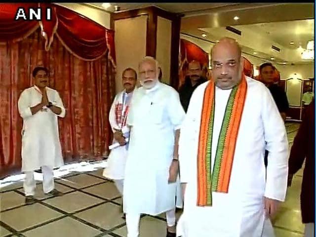 PM Narendra Modi and BJP president Amit Shah at national executive meet in Allahabad.