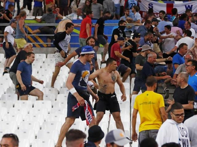 Russia and England fans clashed at the end of the game.