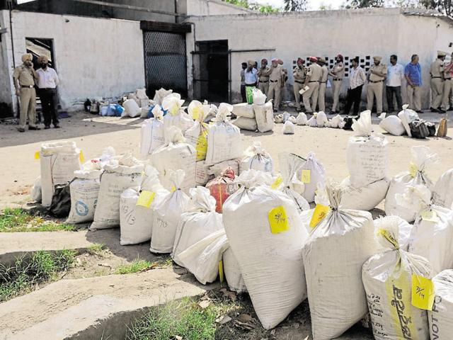 Recovered drugs kept in bags to be destroyed in a Punjab village. Most of the drugs trafficked in the state originate from Afghanistan.