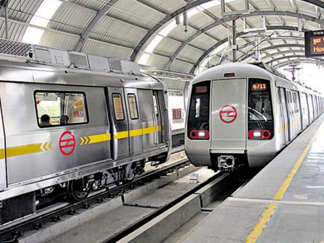 In a freak accident at a Delhi Metro station on Saturday, a CISF jawan virtually caught a 10-year-old girl who slipped from a height of about 10- feet after she accidentally stepped on the escalator.