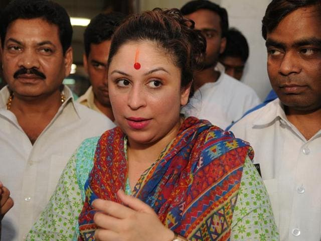 BJP-backed independent candidate Preeti Mahapatra in a pensive mood after she lost the Rajya Sabha election in Lucknow on Saturday.