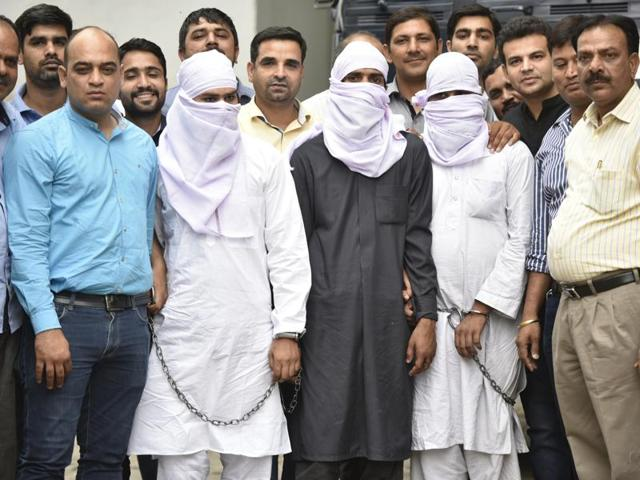 Suspected terrorists arrested by Delhi Police's Lodhi Special Cell on May 4.