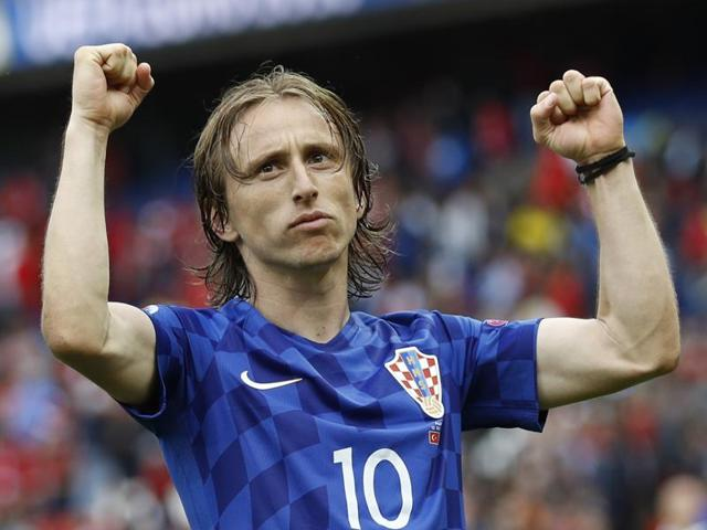 Croatia's midfielder Luka Modric (R) celebrates a goal during the Euro 2016 group D football match.
