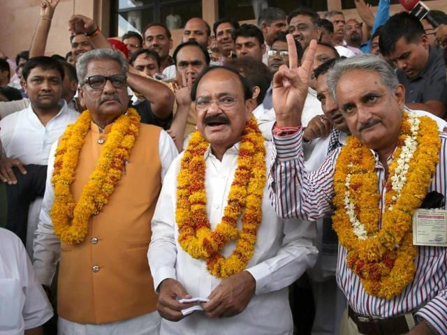 Union ministers M Venkaiah Naidu, Birender Singh, Nirmala Sitharaman and M A Naqvi won comfortably in the Rajya Sabha polls.