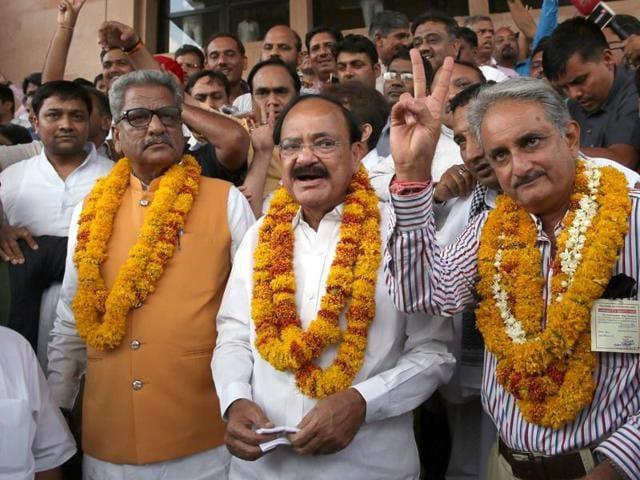 Union ministers M Venkaiah Naidu, Birender Singh, Nirmala Sitharaman and M A Naqvi won comfortably in the Rajya Sabha polls.
