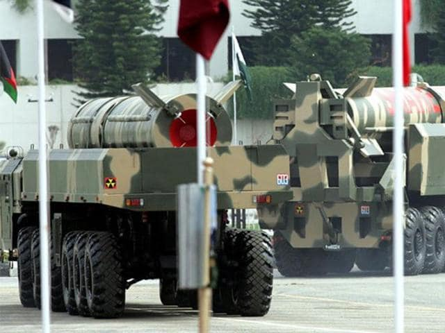 Pakistani nuclear-capable Shaheen II surface-to-surface ballistic missiles during the National Day parade in Islamabad in 2005.