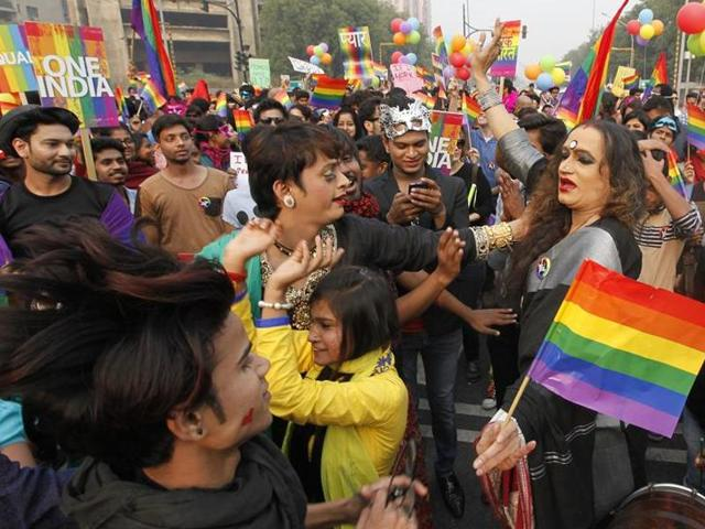 LGBT activists and supporters participate in the 8th  Delhi queer pride march.