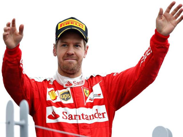Sebastian Vettel of Germany and Ferrari on the podium during the Canadian Formula One Grand Prix at Circuit Gilles Villeneuve in Montreal, Canada.