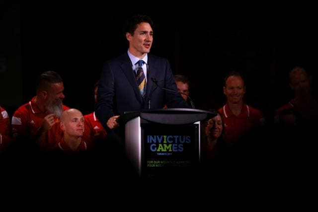 This file photo taken on May 02 shows Canada's Prime Minister Justin Trudeau speaking following British Prince Harry's announcement that Canada will be hosting the 2017 Invictus games at the Fairmont Royal York Hotel in Toronto.