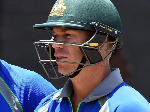 Australia's David Warner plays a shot during a One-day International (ODI) cricket match between South Africa and Australia in the tri-Nation series in Georgetown, Guyana.