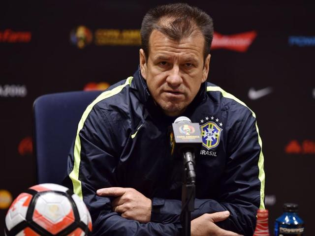 Brazil coach Carlos Caetano Bledorn Verri, commonly known as Dunga, speaks during a press conference at Gillette Stadium in Foxborough, Massachusetts.