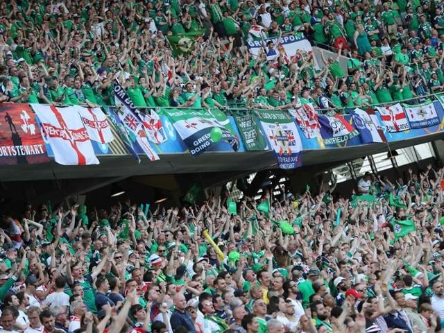 (Representative image)Northern Ireland supporters cheer during the Euro 2016 group C football match between Poland and Northern Ireland at the Allianz Riviera stadium in Nice.