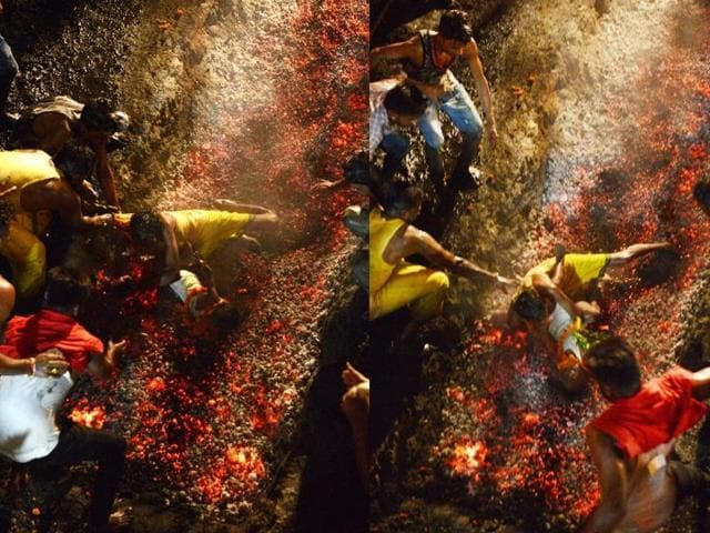 This combination of photographs shows a devotee dropping his six-year-old son Kartik as he falls while running on burning coals at the Maa Maariamma Mela event in Jalandhar on June 12, 2016.