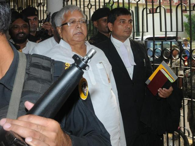 RJD President Lalu Prasad arriving to appear before a CBI court in connection of a Fodder Scam case in Ranchi.