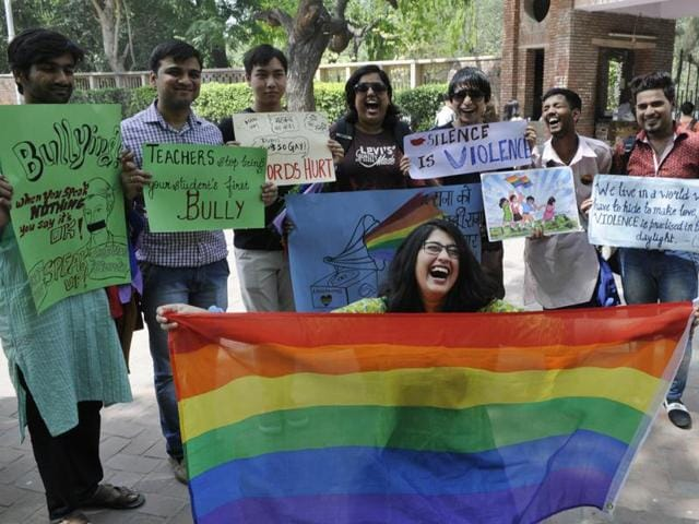 Students from DU, Ambedkar University and JNU demonstrating in North Campus.