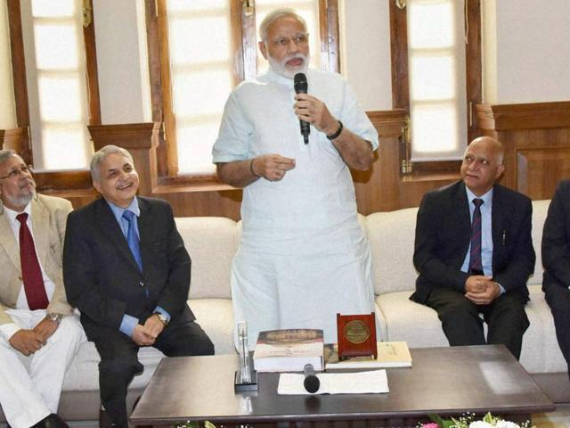 Prime Minister Narendra Modi interacting with the judges and members of the bar, in Allahabad on Sunday, June 12, 2016.