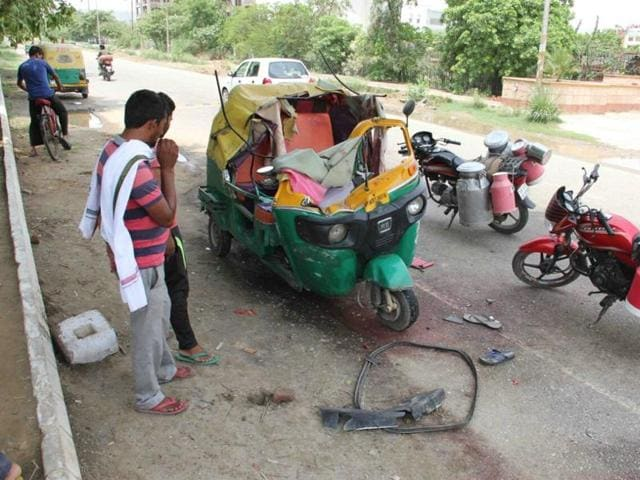 The incident took place around 5.15 am when a speeding dumper hit an auto in which several passengers from Rabupura were travelling to Noida Phase II vegetable market.