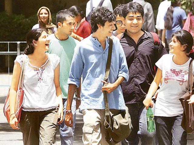 Students during the admission days at Delhi University's North Campus.