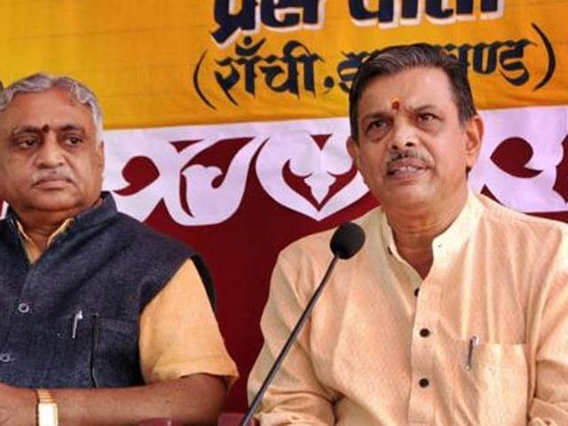 In this file photo, RSS joint general secretary Dattatreya Hosabale (R) and Akhil Bharatiya Prachar Pramukh, Manmohan Vaidya are seen during the inauguration ceremony of All India Executive Body meeting at Sarla Birla Ground, in Ranchi.